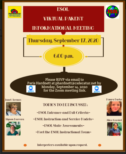 ESOL Virtual Parent Meeting