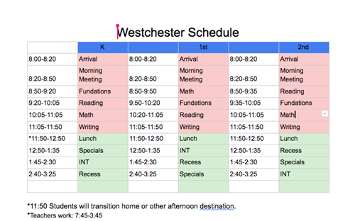 Westchester Virtual & In-Person Schedule
