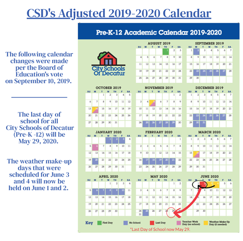 CSD's Adjusted 2019-2020 Calendar