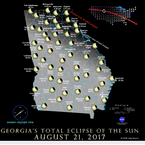 Map of solar eclipse
