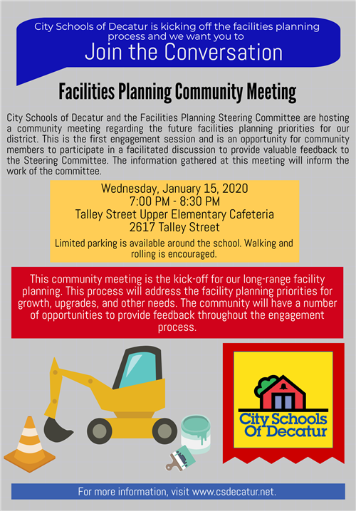 facilities planning community meeting flyer- January 15, 2020