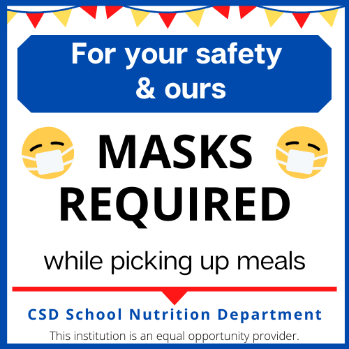 Mask required while picking up meals